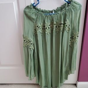 Spense green cold shoulder top